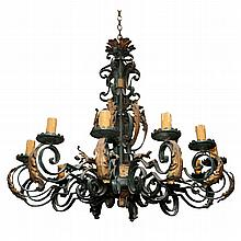 Wrought Iron 19th Century Mediterran. Chandelier