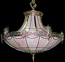 Cast Bronze & Leaded Glass Liberty Chandelier
