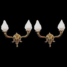 Pair of Bronze 2-Light Wall Sconces