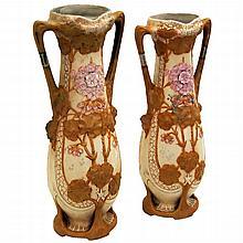 Rair of Antique Royal Dux Vases with Floral Motif
