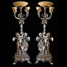 Pair of 9'H Silver over Bronze Torcheres