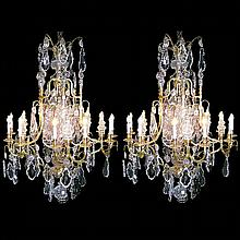Pair of Fabulous Bronze & Crystal Chandeliers