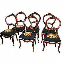 Fabulous Set of Six Antique 19th Century American Needle Point Chairs