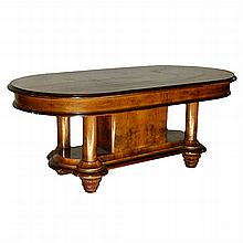 French Art Deco Oval Dining Table with Substantial Base