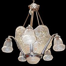 Spectacular Art Deco 5-Tulip Chandelier