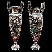 Spectacular Pair of Antique WMF Silver Plated Figural Carved Vases