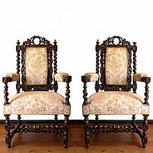 Pair of Antique 19th Century Carved Figural Armchairs by John Jelliff