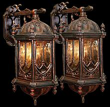 Pair of Rare 19th Century Cast Iron Gothic Sconces