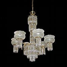 19th Century American Crystal 6-Light Chandelier