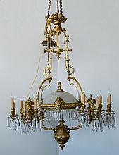 19th Century French Gilt Bronze Figural Bronze and Crystal 14-light Chandelier
