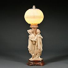 20th Century French Carved & Tinted Alabaster Table Lamp