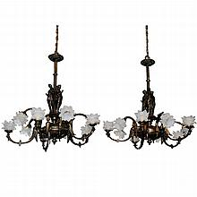 Pair of  19th Century Bronze Figural Gas Chandeliers