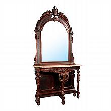 American Renaissance Carved Walnut Marble Console