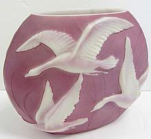 Rare 20th C. Phoenix Glass Vase with Embossed Geese in Flight