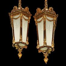 Pair of 19th Century Hanging Bronze Lanterns