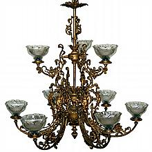 Pair of Victorian 10-Lt Chandeliers