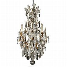 19th Century Baccarat Crystal & Bronze Chandelier
