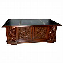 Beautifully Carved 19th Century Victorian Executive Desk with Gold Tooled Leather Top