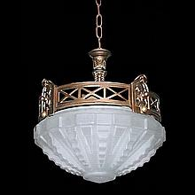 Art Deco Hanging Light Fixture/Frosted Dome
