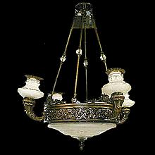 5-Light Bronze & Cut Glass Chandelier