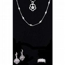 Sterling silver cubic zirconia fashion costume jewelry; 8pc.