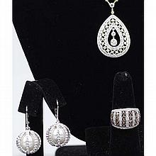 Sterling silver 925 fashion costume jewelry; 3pc. Includes CZ teardrop pendant and ring with topaz color and clear stones