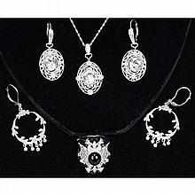 Sterling silver fashion costume jewelry; 4pc.
