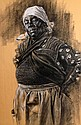 Leroy Allen, (African-American; 1958 - 2007), Ma'am (Tribute to P.H. Polk), Charcoal and chalk on paper, 39