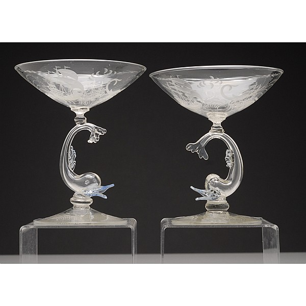 SALIR murano glasses with etched ships and dolphins, pair; c. 1930s.