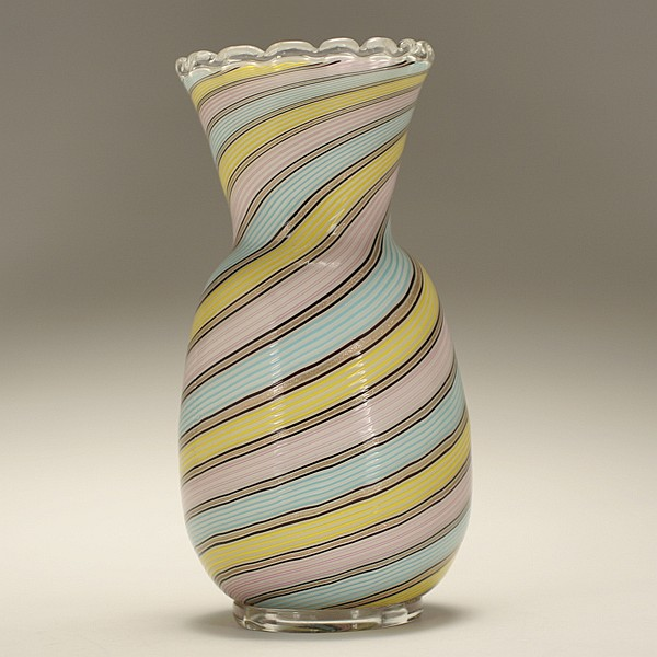 Fratelli Toso Murano filigrana vase, attributed.