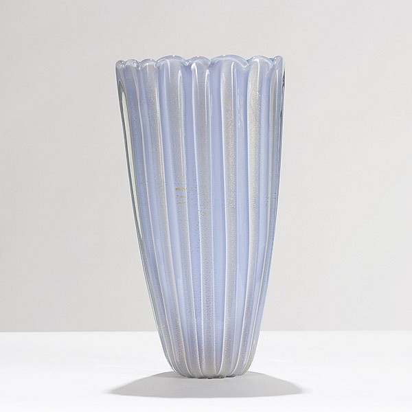 Monumental Murano opalino oro glass vase, probably from Barovier and Toso, c.1950.