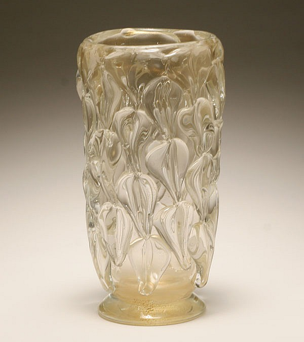 Archimede Seguso Murano art glass vase with gold-leaf applications.