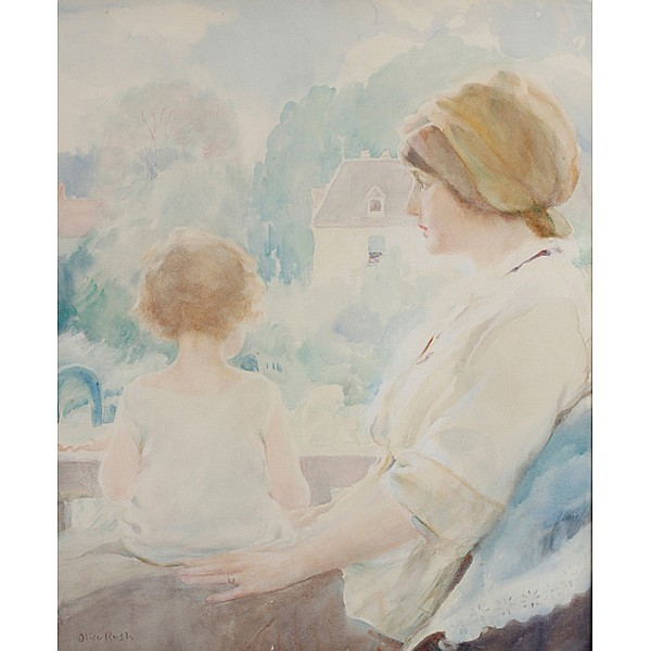 Olive Rush, (American; 1873 - 1966), Mother and Child, Watercolor, 25 1/2
