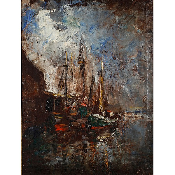 Glenn Cooper Henshaw, (American/Indiana; 1880 - 1946), Gloucester Boats, Oil on canvas, 25