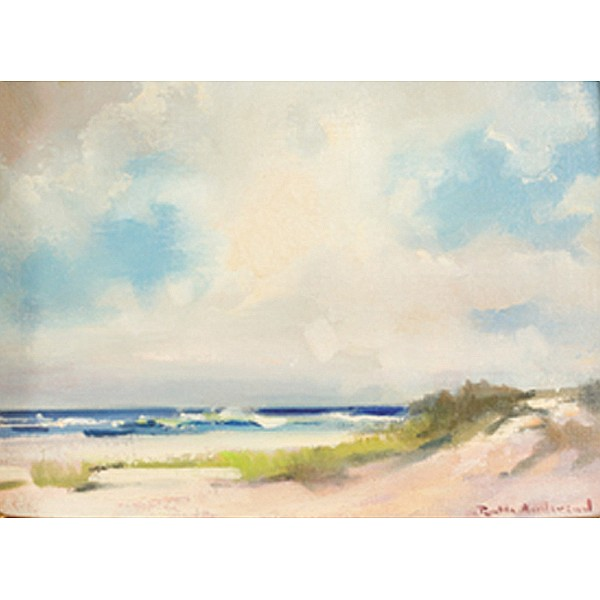 Ruth Bernice Anderson, (1914 - 2002), beach shoreline, dunes, oil on canvas, 9