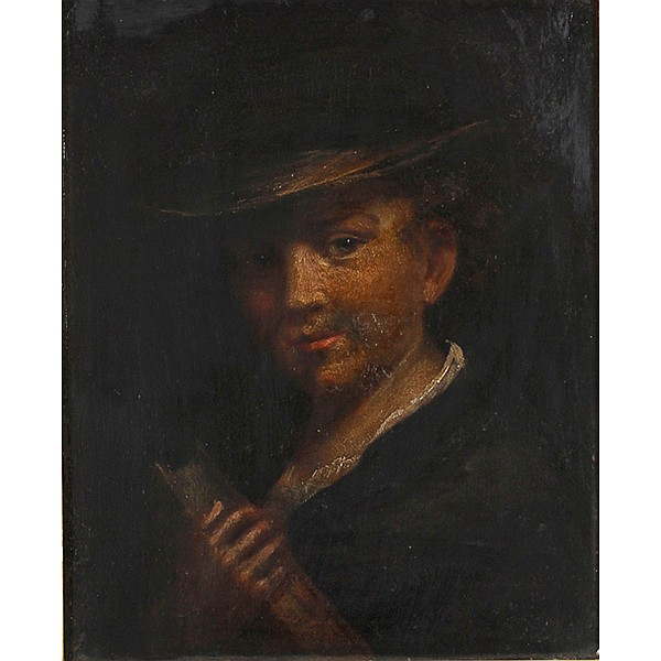 Dutch School portrait of a boy holding a book, late 18th/early 19th Century.