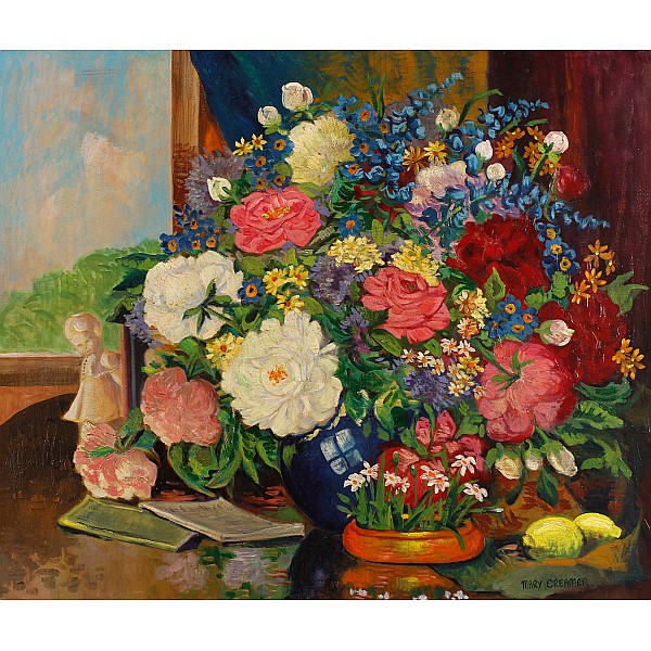 Mary Creamer, (American; b. 1892), Floral Still Life, Oil on canvas, 30