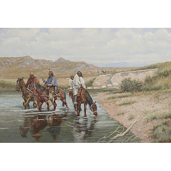 John Hauser, (1858/59 - 1913), Four Indians on horseback, Gouache on paper, 11 3/4