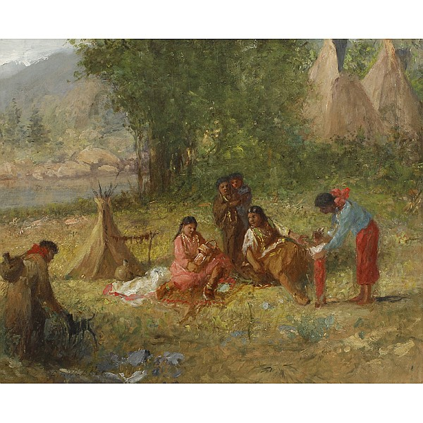 Charles T. Webber, (American/Cincinnati; 1825 - 1911), Native American Family, Oil on canvas, 18