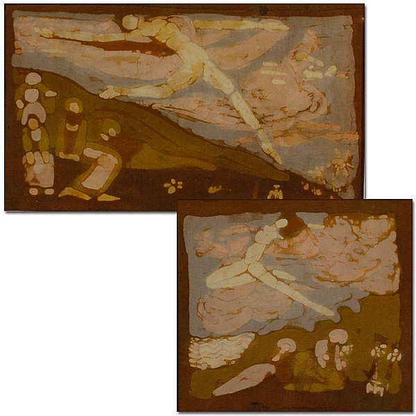 Tanasko Milovich, (Yugoslavian/American; 1900 - 1964), Lot of two works, Batik on cloth, 6