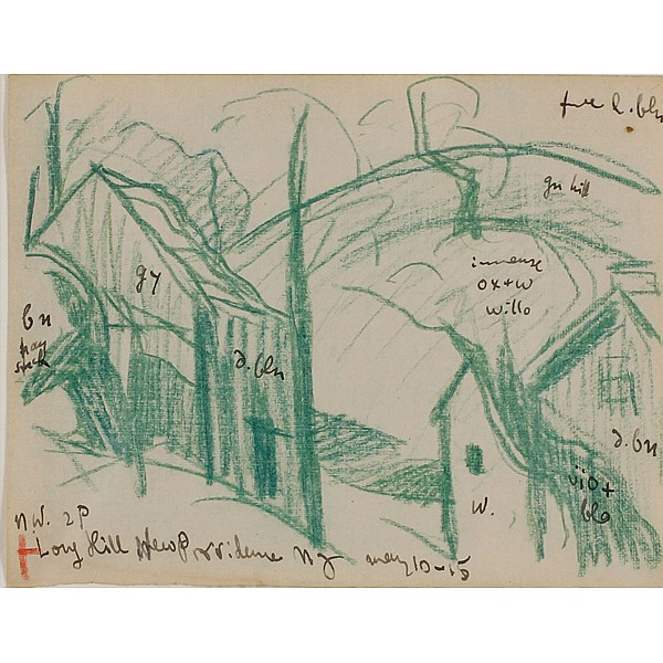 Oscar Bluemner, (German/American; 1867 - 1938), Longhill, New Providence, NJ, Colored pencil on paper, 4 1/2