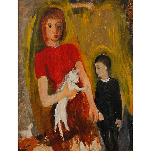 Frank Perri, (Italian/American, 1918-1999), Girl with Cat, Oil on board, 17 1/4