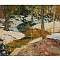 W.S. Hamaker, (American; 20th Century), Winter Stream, Oil on board, 20