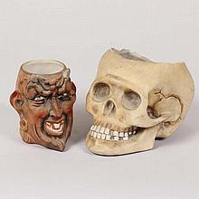 German E. Bohne and Sohne German bisque skull tobacco jar and devil head mug