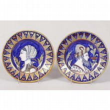 Pair Italian Faience plates in blue and gold lustre