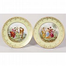Pair Vienna style porcelain plates with mythological scenes in neoclassical style after Angelica Kauffman.