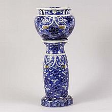 Japanese blue and white porcelain Jardiniere with pedestal