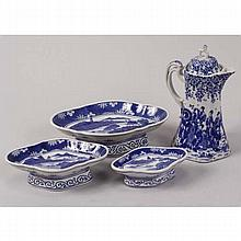 Japanese style blue and white porcelains, teapot and footed bowls