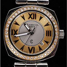 Philippe Charriol ladies' two-tone stainless steel Alexandre bracelet watch with diamond bezel, .59ctw.