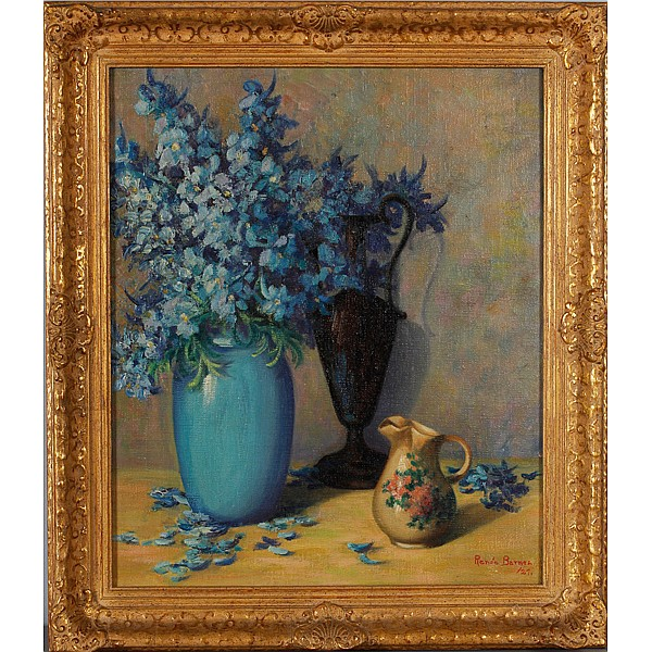 Renee Barnes, (1886-1940), blue floral still life, oil on canvas, 18
